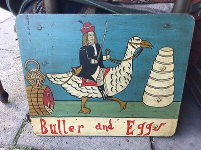 Vintage Wood Handpainted Advertising Sign Butter And Eggs