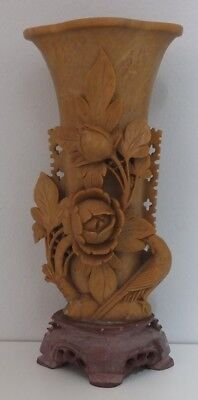 Vintage Collectable Asian Carved Soapstone Vase Roses, Leaves & Birds Heavy