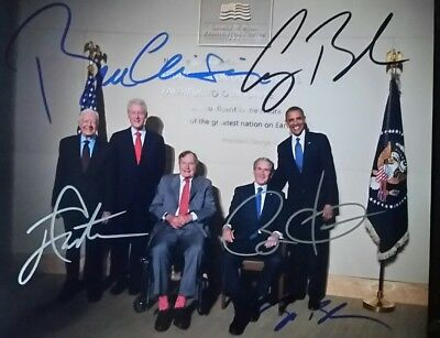 Five Former American Presidents Autographed Photo With COA