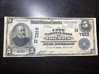1902 $5 Large Date Back National Currency - City National Bank of Columbus Ohio