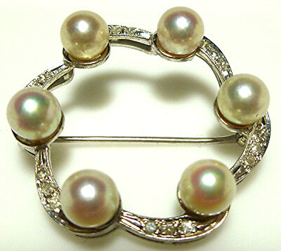 ART DECO VINTAGE 14K WHITE GOLD 6mm PEARL DIAMOND ROUND COCKTAIL BROOCH PIN