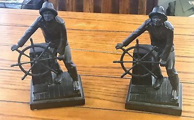 Rare 1930's Jennings Brothers Gloucester Fisherman Nautical Statue Bookends-Leon