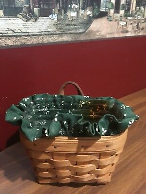 Longaberger Handwover Small Basket W/Leather Strap Wall Hanger Plastic & Fabric