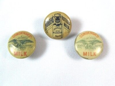 Lot of 3 Antique 19th C. BORDEN'S NY CONDENSED MILK CELLULOID LAPEL STUD BUTTONS