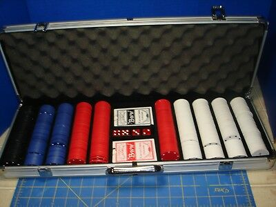 500 Poker Chips  2 Pair Of Dice 2 Decks Of Cards Aluminum Case Clean Gently Used