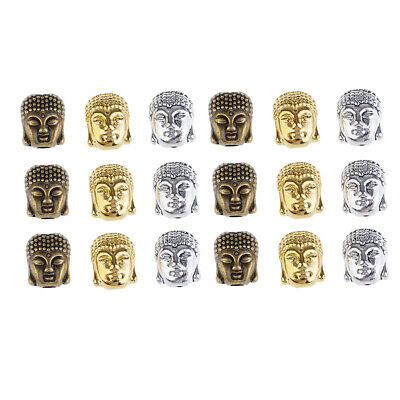 18pcs Buddha Head Shape Spacer Loose Beads Charms for DIY Necklace Bracelet