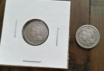 1866 & 1874 Three Cent nickel pieces/Rare old coins/3 cent pieces