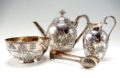 RARE CHINESE WILLOW PATTERN STERLING SILVER TEA SET T.SMILY for ELKINGTON 1868