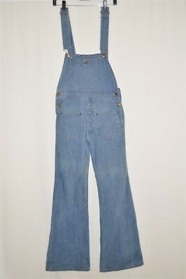 vtg 70s HANG TEN DENIM OVERALLS LOW SQUARE BACK BELL BOTTOMS WOMEN'S PANTS