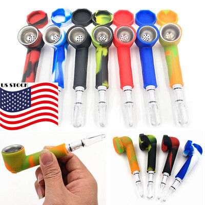 Hand Tobacco Smoking Pipe + Cap Bowl Herb Cigarette Filter Holder Silicone Newly