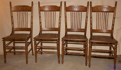 Antique oak pressed back chairs refinished and reglued - 5 ANTIQUE OAK Press Back Chairs, Sturdy Excellent Condition