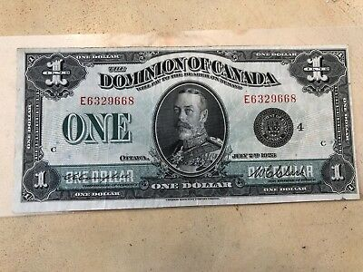 1923 Dominion of Canada $1 Black Seal - Campbell-Clark