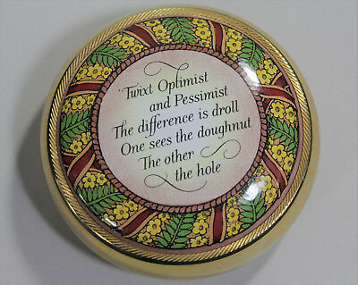 Halcyon Days Enamels Doughnut / Donut Themed Paperweight w/ Inspirational Quote