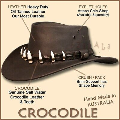 ■ OIL BUFFALO Leather Hat CROCODILE Teeth Mens Mans Gift Outback DUNDEE Cowboy