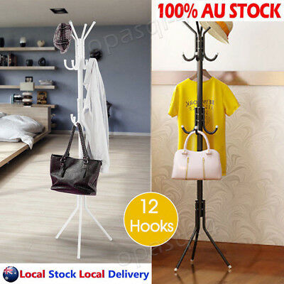 12 Hooks Umbrella Stand Coat Cloth Hat Rack Hanger Tree Holder Metal Shelf Rack