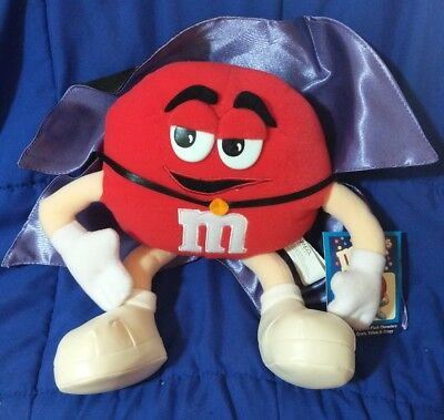 "Nwt 2001 Collectible M&m Mr. Red In Dracula Costume Stuffed Toy Character 11"" H"