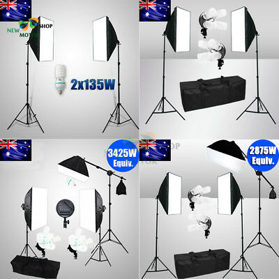 AU- Photo Studio Lamp Softbox Continuous Video Lighting Light Boom Arm Stand Kit