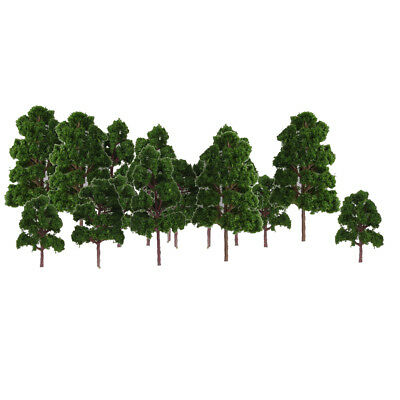 20pcs Mix Size Model Trees Deep Green N HO Scale Layout Diorama Scenery Toys