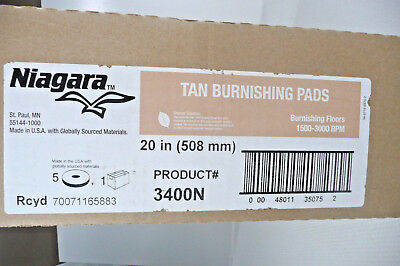"Niagara Tan Burnishing Pads 3400N 20"" (5 Pads) 1500 to 3000 RPM ID 70071165883"