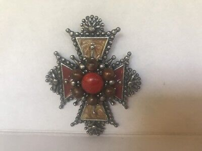 """Silver Cross Pendant with Multi Color Stones coral brown 3"""" tall vintage heavy"""