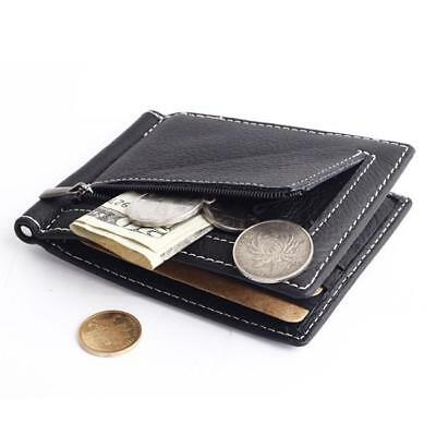 Ultra-thin Leather Money Clip Slim Wallet ID Credit Card Holder Purse Gray LG