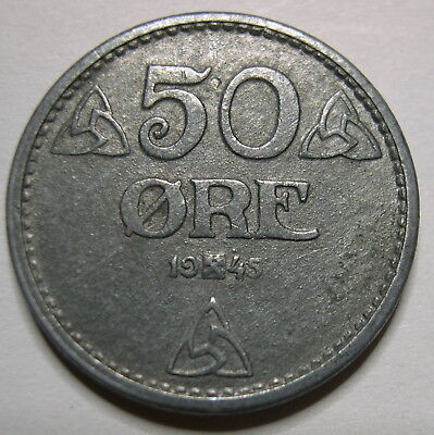NORWAY 1945 50 ORE Key Date only 226K minted  ** Rare **