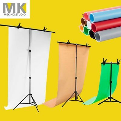 MK T Backdrop Stand PVC Background Photography Adjustable Support System + Clamp