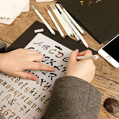 Alphabet Number Paper Cards Letter Layering Stencils Painting Scrapbooking WE9