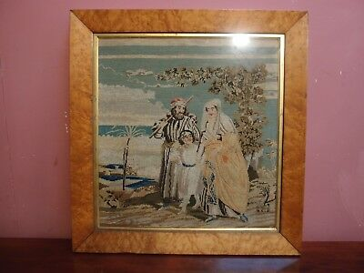 Antique Woolwork Tapestry In Original Birds Eye Maple Frame Dated 1858