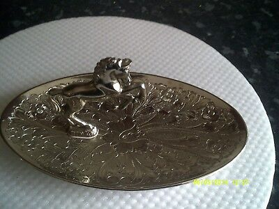 Silver plated pin dish with a rearing horse on one side