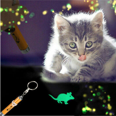 Cat Kitten Pet Toy LED Laser Lazer Pen Light With Bright Mouse Animation FFDD