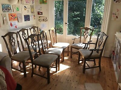 8 Beautiful Antique Dining Chairs, including 2 carvers, possibly Victorian