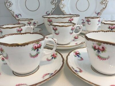 Antique China Tea Cup & Saucer Coffee Cup or Cake Plate Pink Rose Gold Victorian
