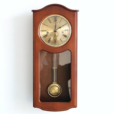 HERMLE Wall Clock Classic DESIGN! WESTMINSTER Chime! Glass Wood Germany Pendulum