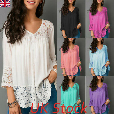 UK Summer Womens Lace Long Sleeve T Shirt V-Neck Blouse Ladies Casual Loose Tops