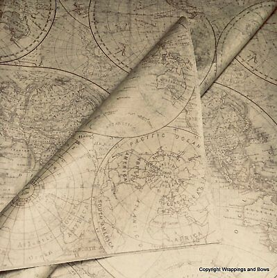 Printed Patterned Tissue Paper *Olde World Map* Premium Quality Gift Wrap