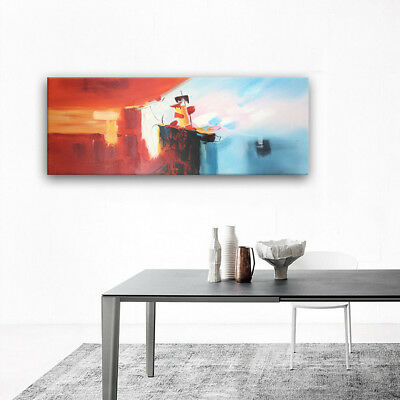 Hand Painted Abstract Oil Painting Decorative Artwork on Canvas Framed 60x160cm