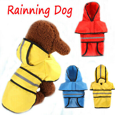 Dog Raincoat Reflective Waterproof Pet Hooded Overalls Puppy Cat Rain Coat