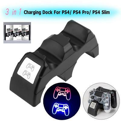 3 in 1 Dual Charging Dock Station Charger Stand for PS4 Pro/PS4 Slim Controller
