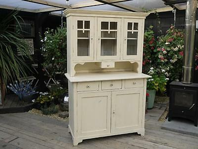 Old Antique Pine Painted Glazed Dresser/display Cabinet/cupboard - We Deliver!