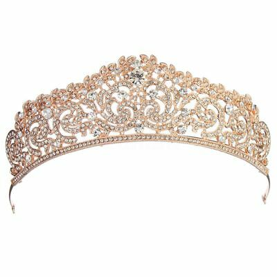 Wedding Bridal gold plated Crystal Rhinestone Pageant Tiara Crown Party Headb8U3