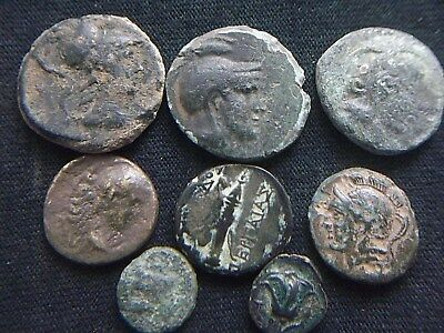 Lot of 8 Authentic Ancient Greek coins, 3rd Century BC to 1st century AD  CC8930