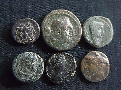 Lot of 6 Ancient Greek & Roman coins, 3rd Century BC to 1st century AD  CC9944