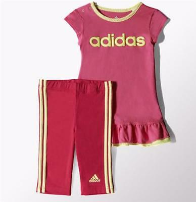 Adidas girls infants baby dress & legging set s21461 new multi uk 6-9 to 2-3 yrs
