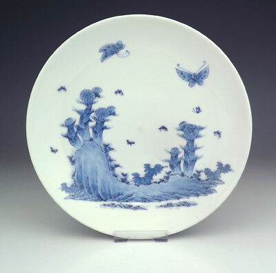 Antique Japanese Arita Porcelain - Flower, Rock & Butterfly Decorated Plate