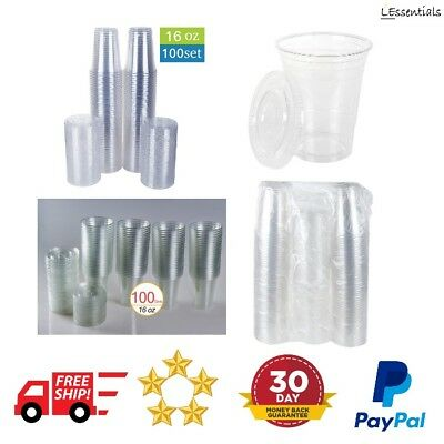 Crytsal Clear Plastic Cups With Flat Lids 100 Count 16oz Disposable Party Drinks