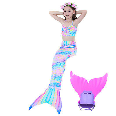 New Girl's 3Pcs Mermaid Tail Swimwear Children Clothing Cosplay Bikini Swimsuit