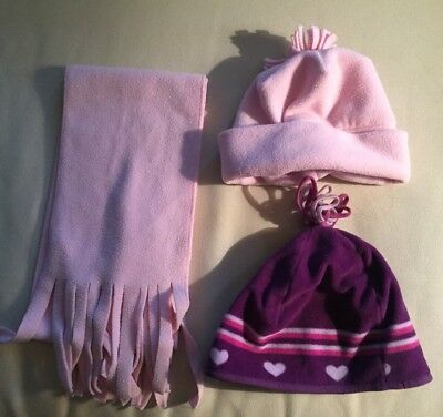 Girls Youth Kids Winter Hats (2) Pink Purple and Pink Scarf LOT