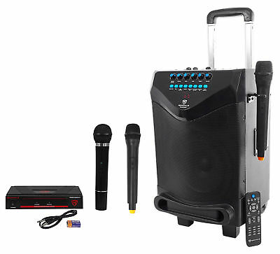 "Rockville 8"" Portable YouTube Bluetooth Karaoke Machine/System+(3) Microphones"