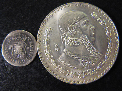 Mexico, 1/2 Real 1761 Bent But All Readable, And A Unc 1957 Peso, Nice